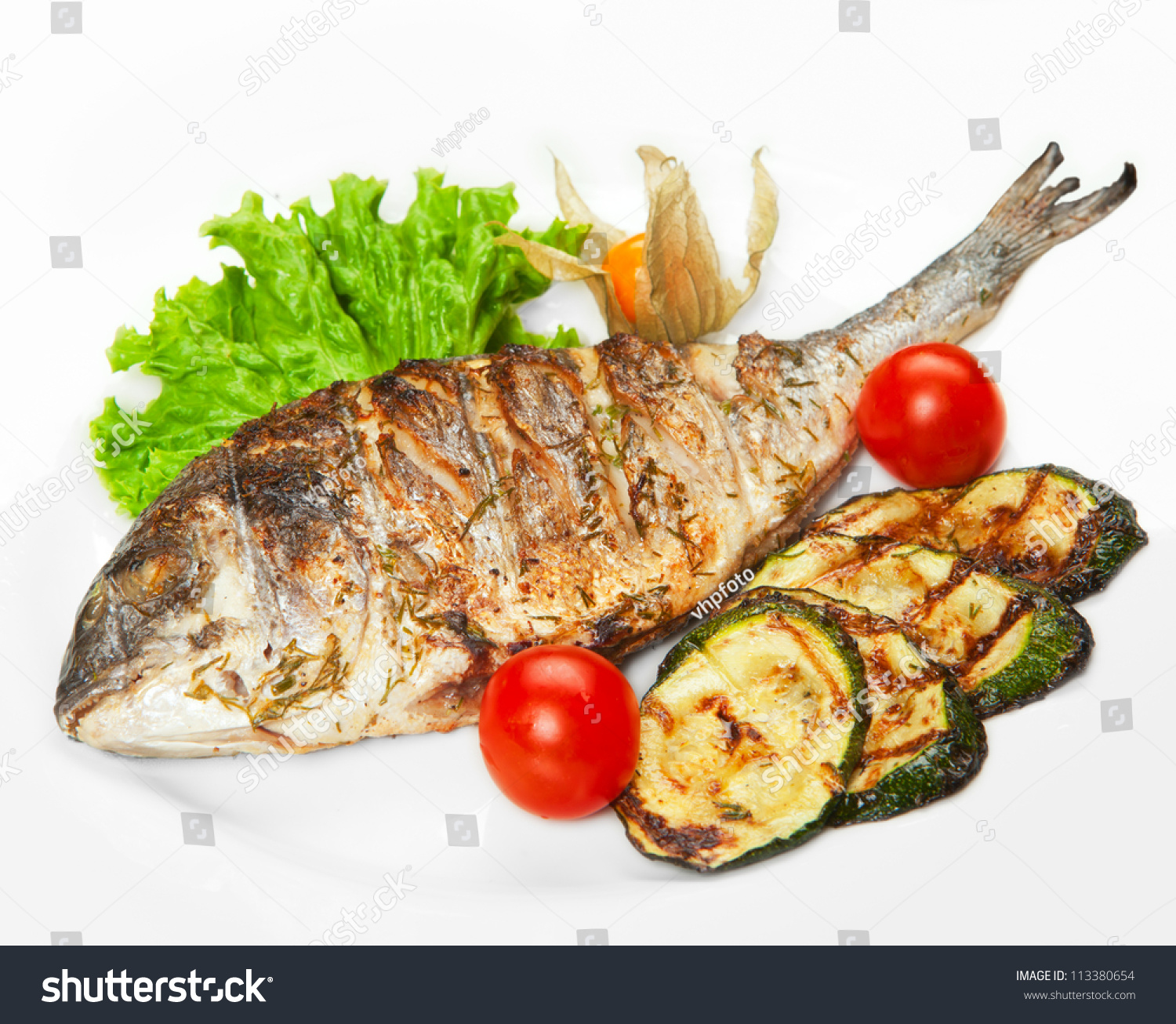 Grilled fish with vegetables stock photo 113380654 for Fish with vegetables