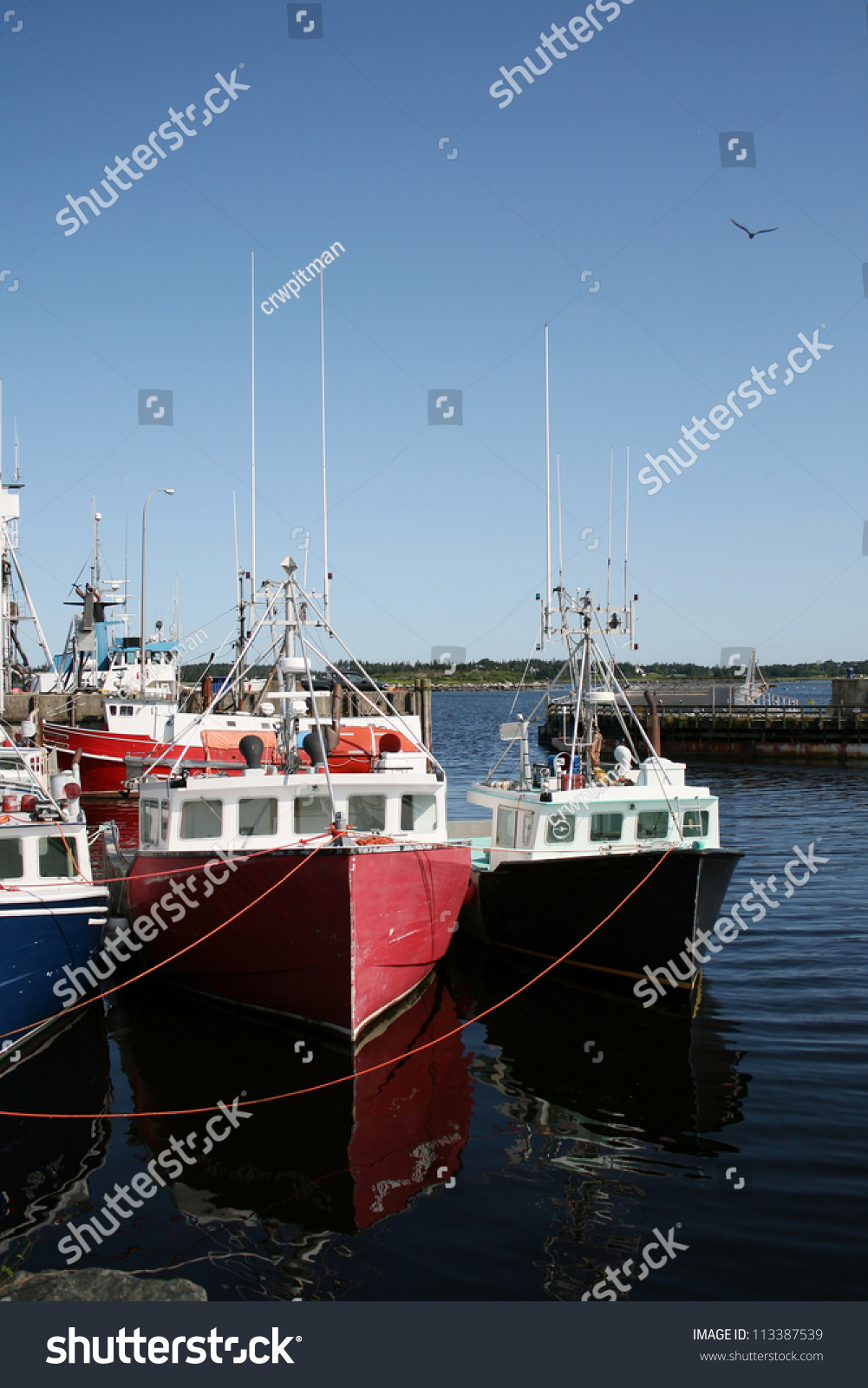 fishing boats moored in yarmouth harbour  nova scotia