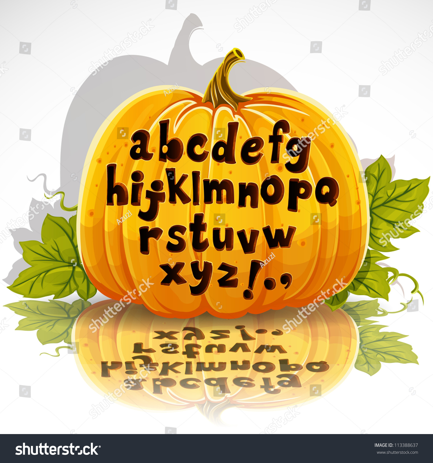 happy halloween cut out pumpkin small stock vector (royalty free
