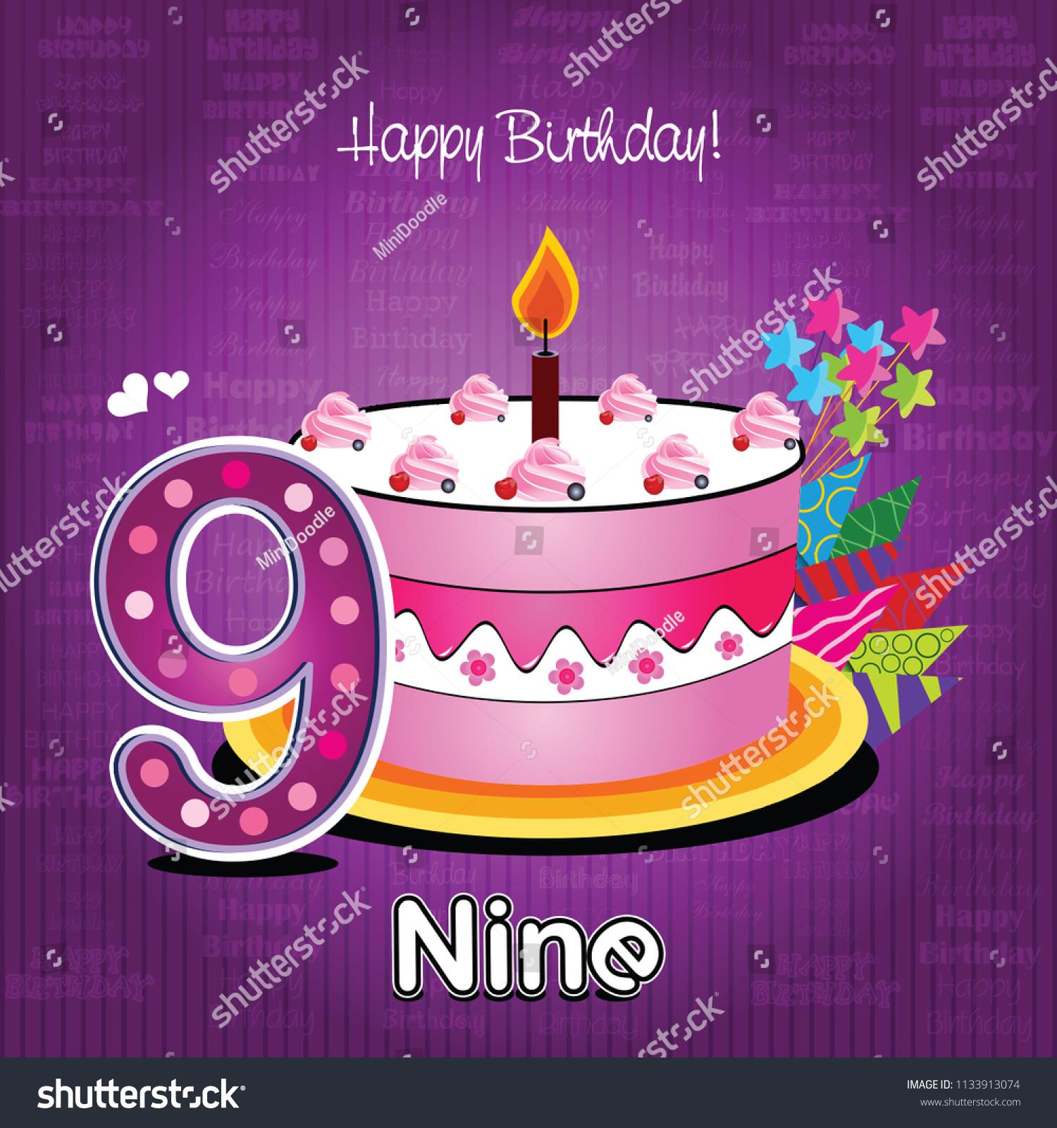 Vector Happy Birthday Card Cake Numbers Image Vectorielle De Stock