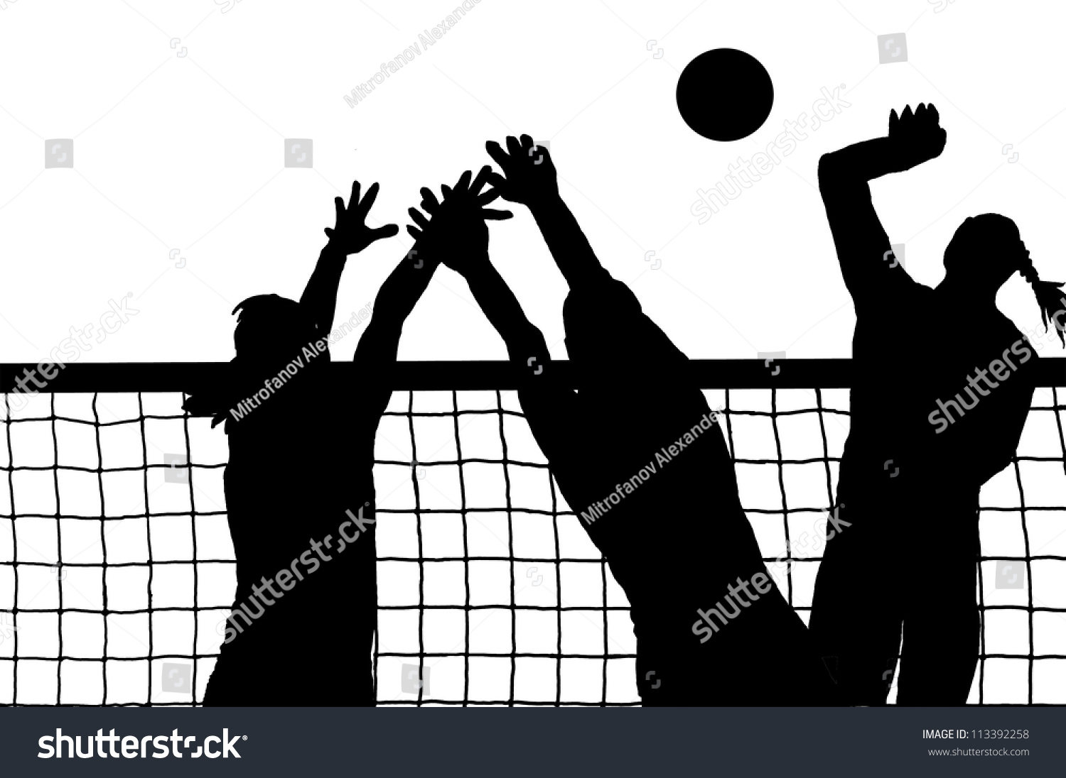 Abstract Triangle Volleyball Player Silhouette Stock: Volleyball Three Women And Ball Silhouette Vector