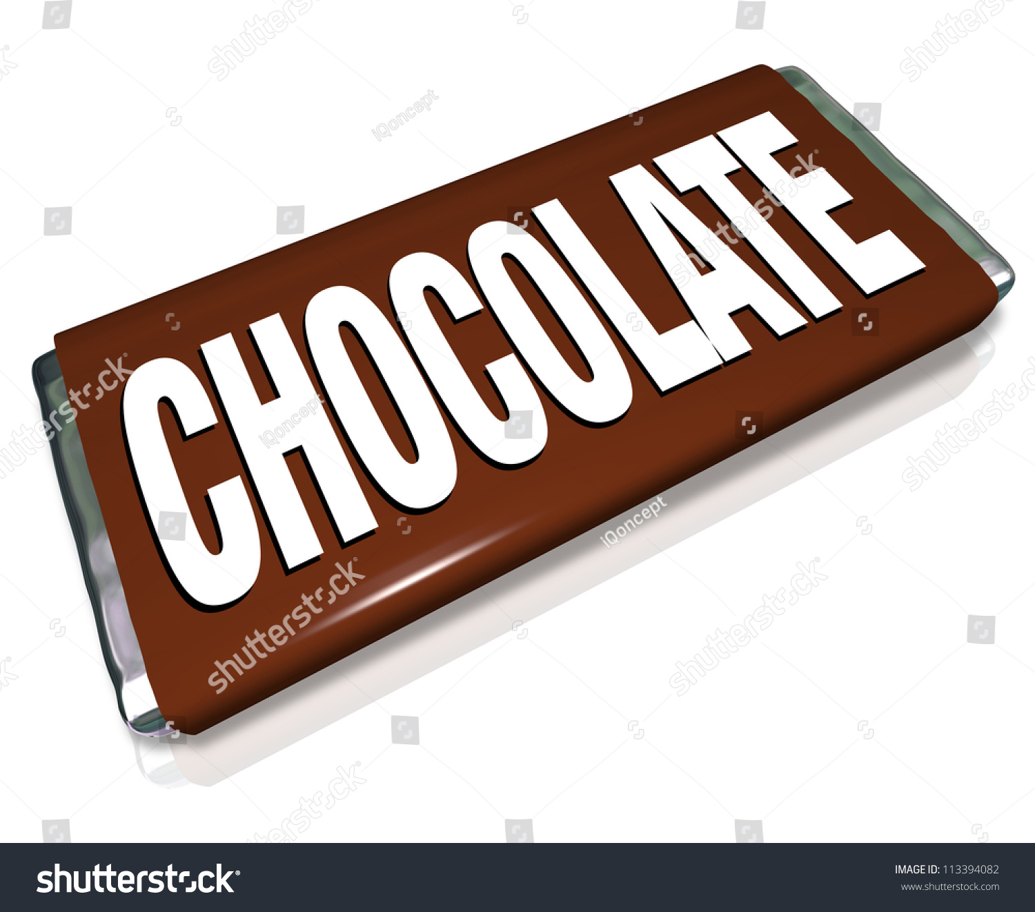 A chocolate bar in brown and silver foil wrapper junk - Image of bar ...