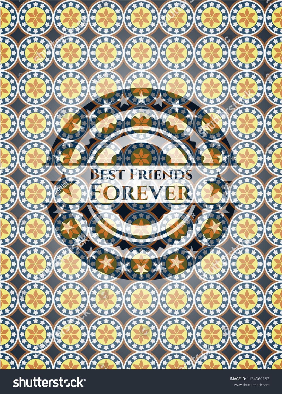 Best Friends Forever Arabesque Emblem Arabic Stock Vector