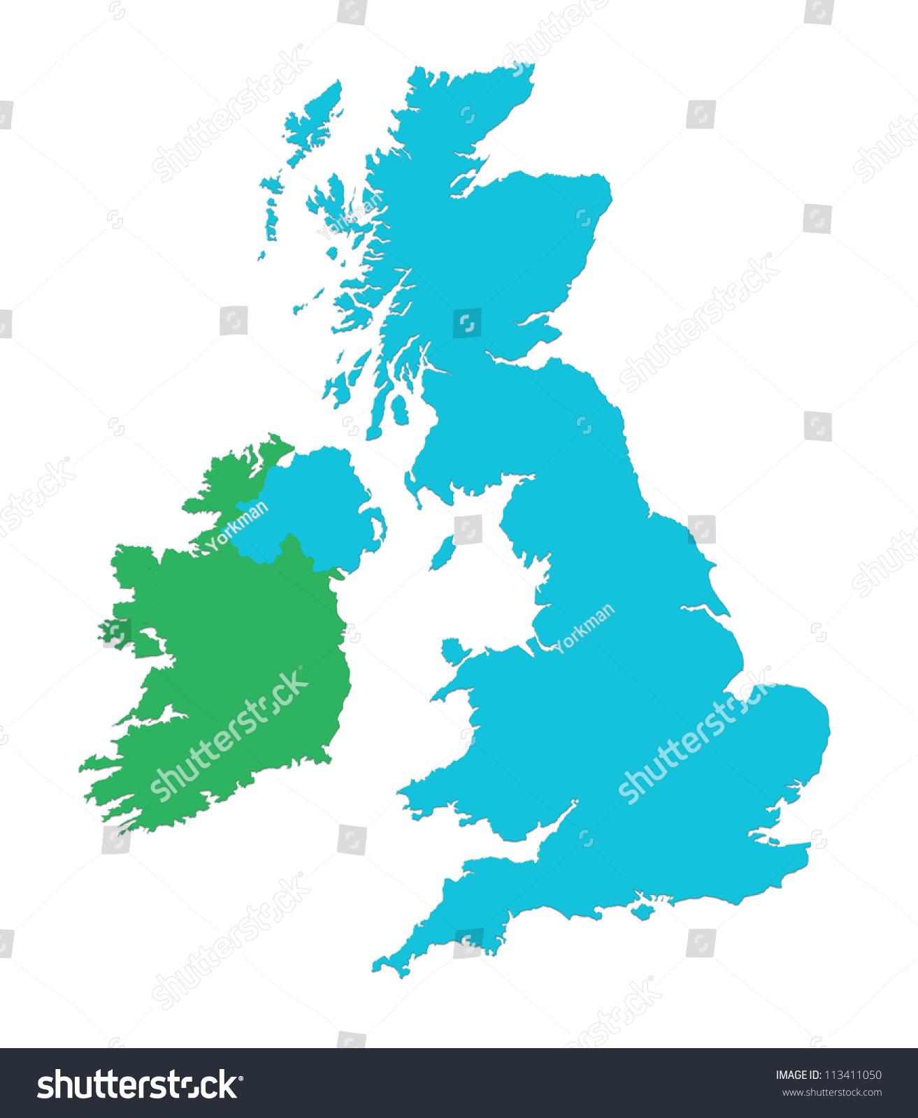 Outline Map Uk Ireland Over White Stock Illustration 113411050