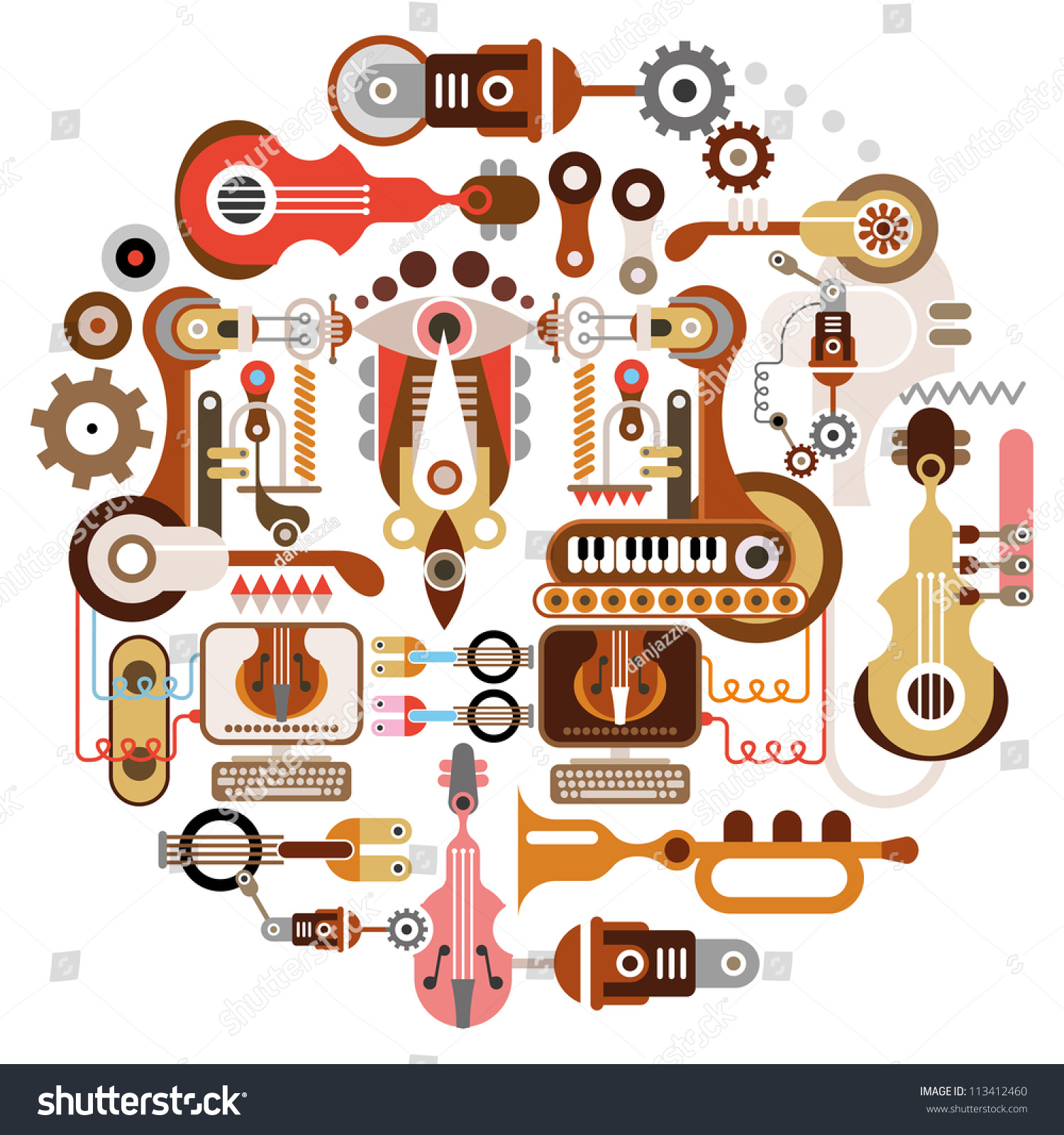 Musical Instrument Shop Abstract Vectorbackground Isolated Stock ...