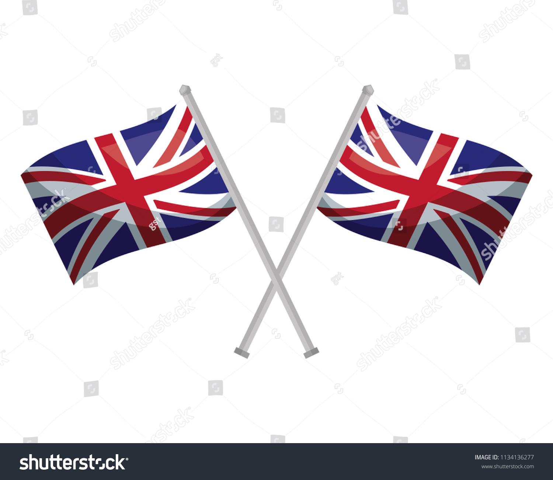 Crossed United Kingdom Flags P...