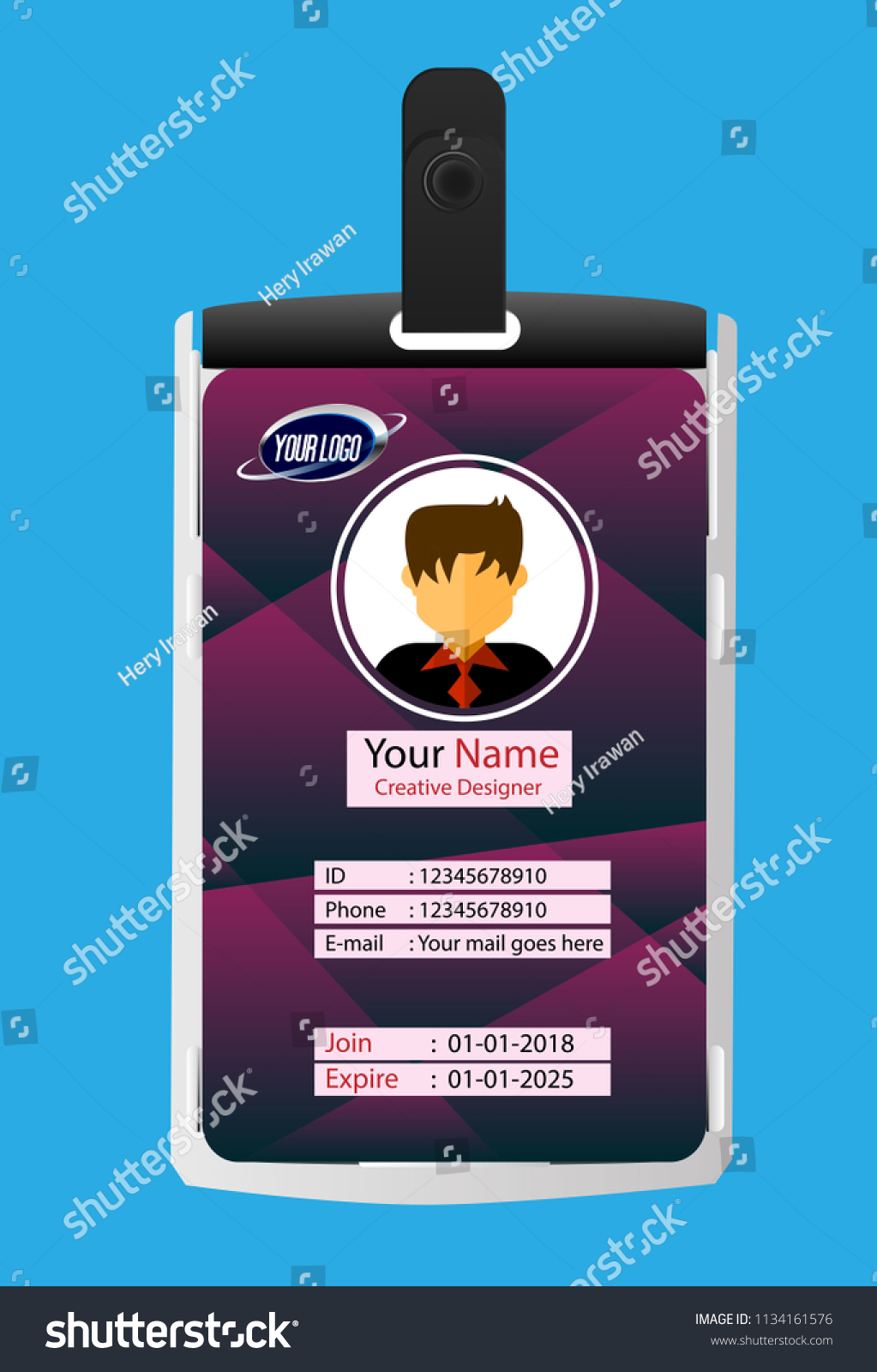 Id Security Cards Identification Badge Template Stock Vector