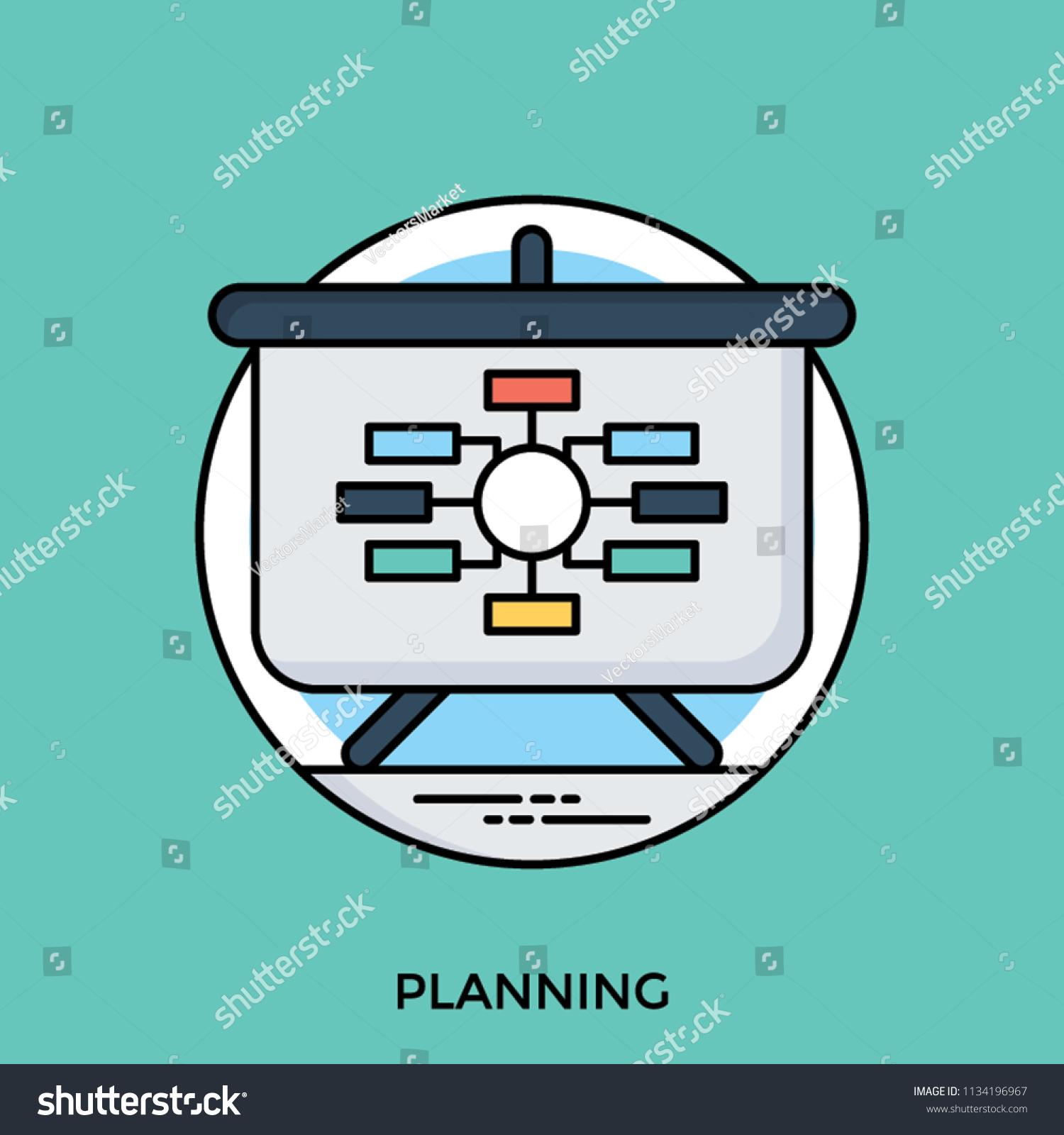 Presentation Board Data Processing Flowchart Diagram Stock Vector