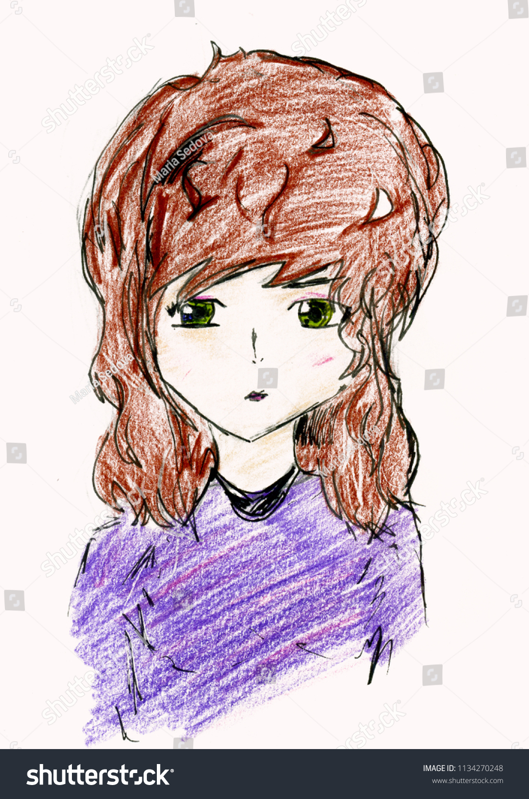 Green eyed brown haired anime style girl portrait pencil drawing