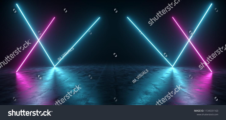 Futuristic sci fi blue purple neon stockillustration 1134331163