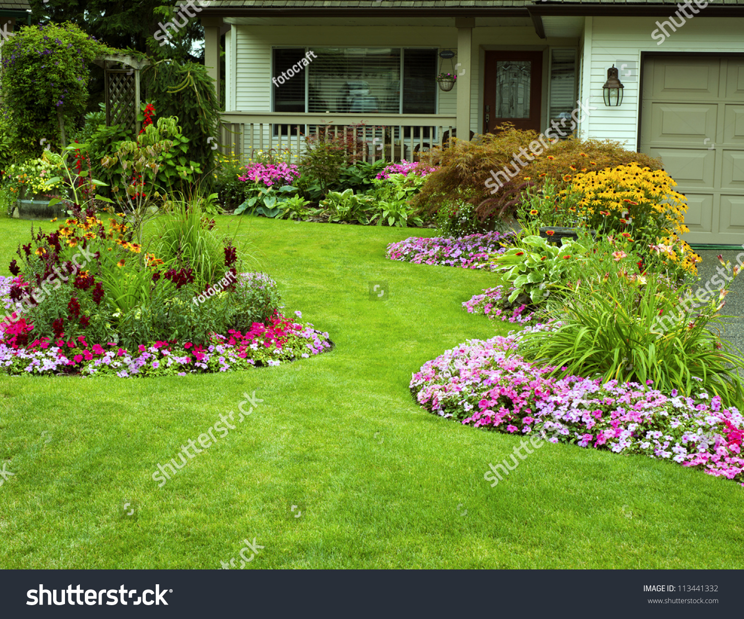 Front Yard Landscaping Beautifully Manicured Front Stock Photo