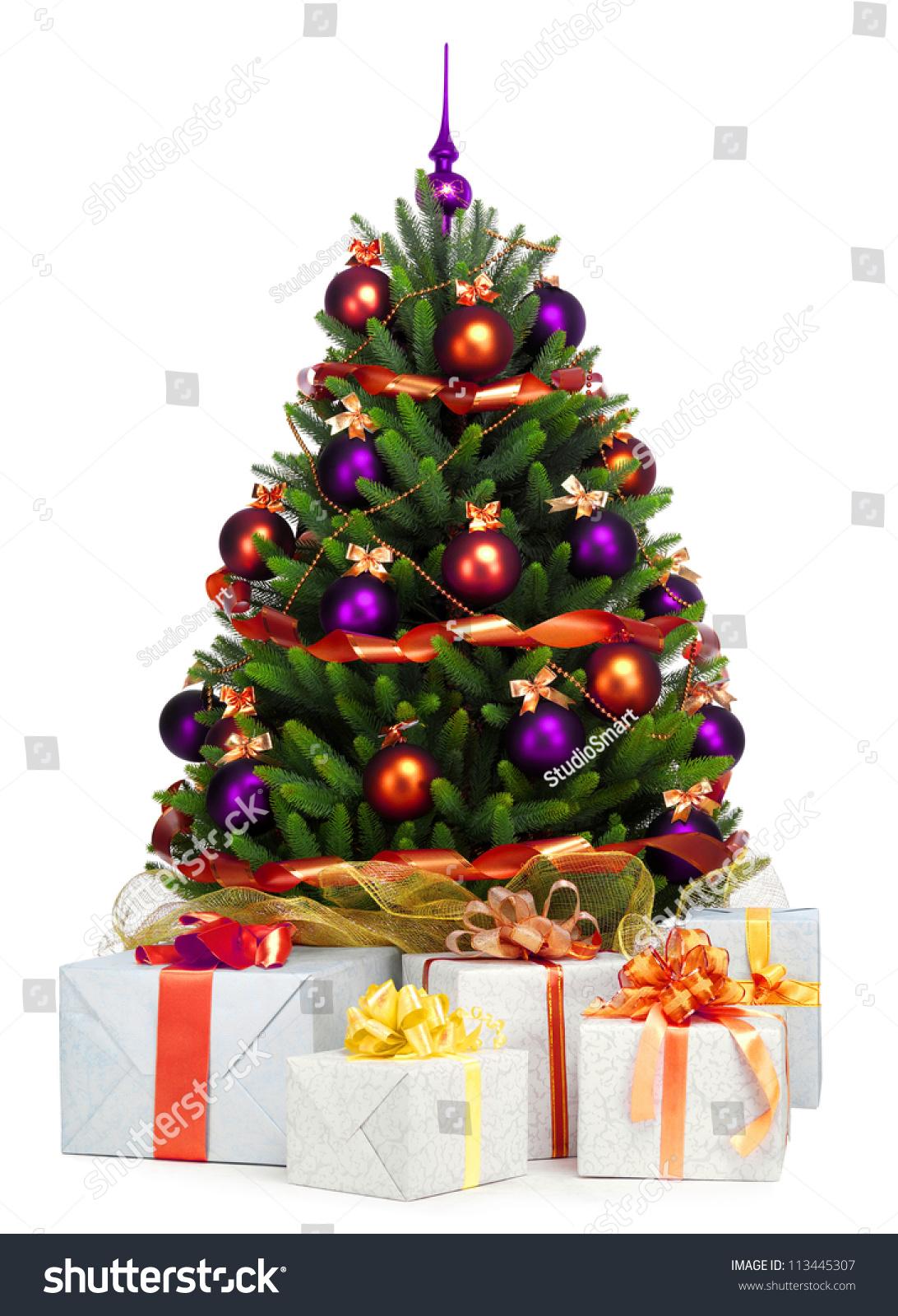 Decorated Christmas Tree On White Background Stock Photo 113445307