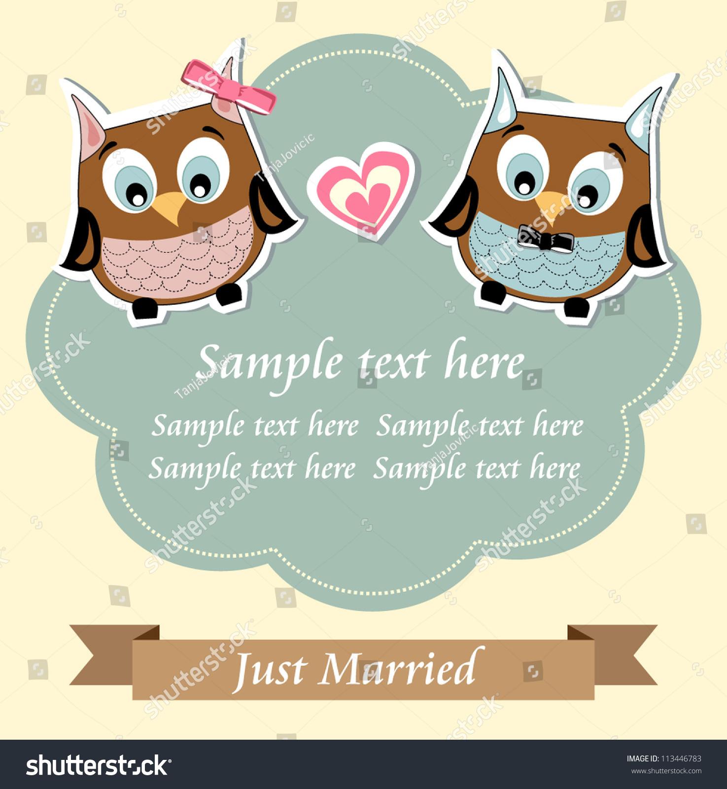 Cute owls just married wedding invitation stock vector 113446783 cute owls just married wedding invitation card stopboris Choice Image