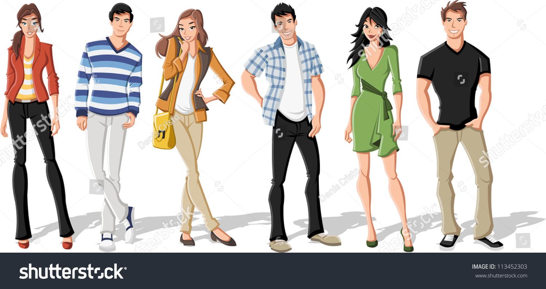 Grupo De Desenhos Em Cartoon De Jovens Na Moda Adolescentes Banco De Ilustra O Vetorial
