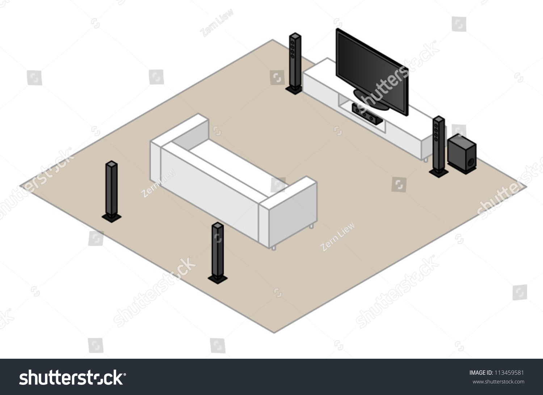 51 Home Theatre Setup Subwoofer Centre Stock Vector (2018) 113459581 ...