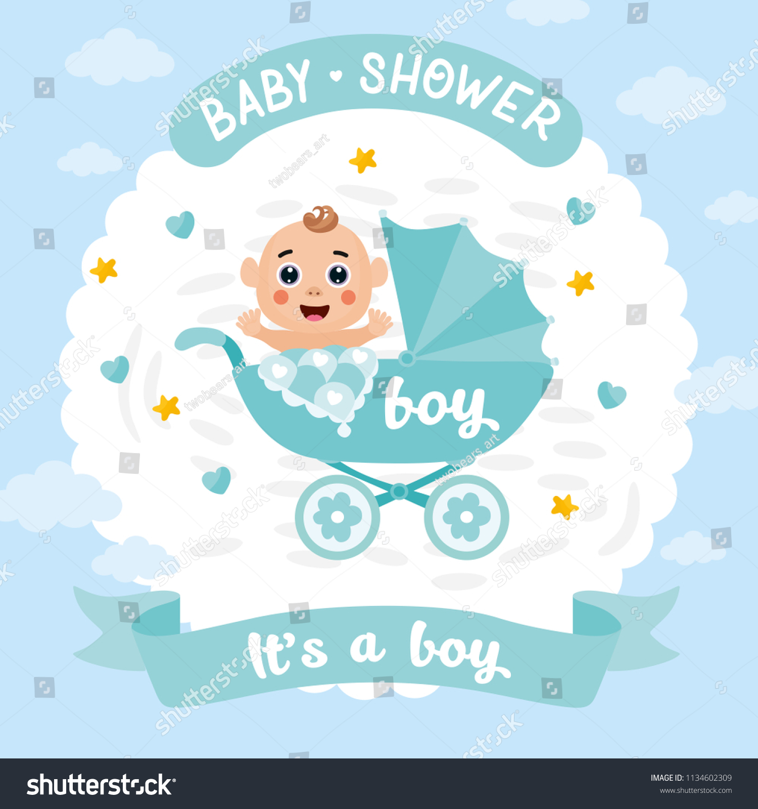 boy baby shower card invitation template stock vector royalty free