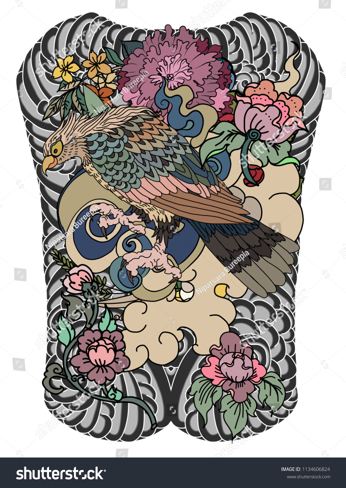 Eagle Flying Tattoo Traditional Japanese Eagle Thai Stock Vector