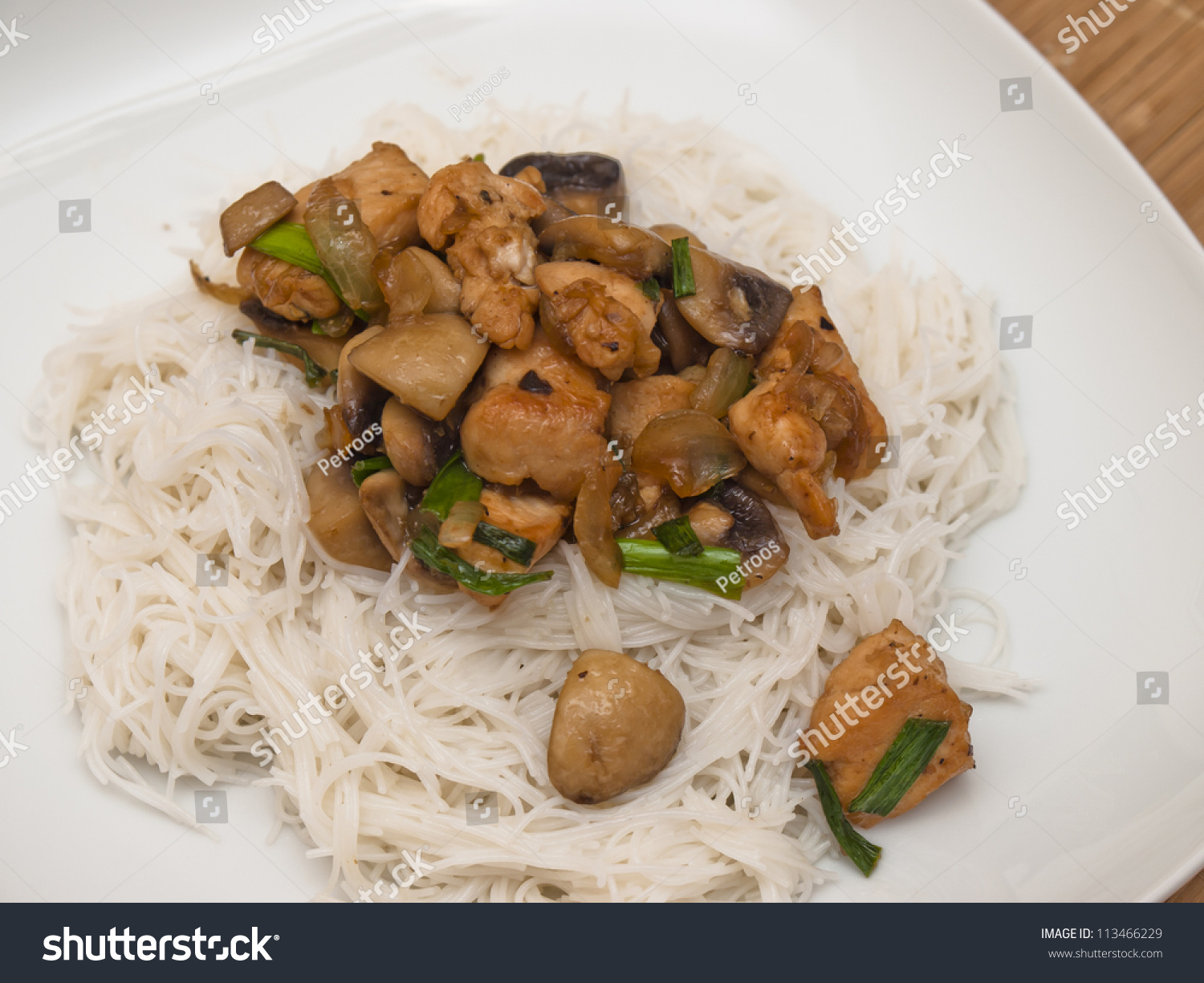 Pasta With Chicken And Mushrooms Stock Photo 113466229 ...