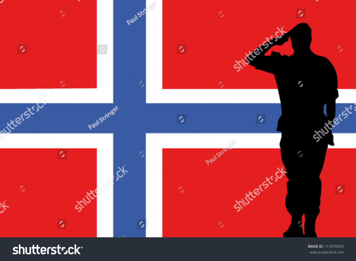 the norway flag and the silhouette of a soldier saluting