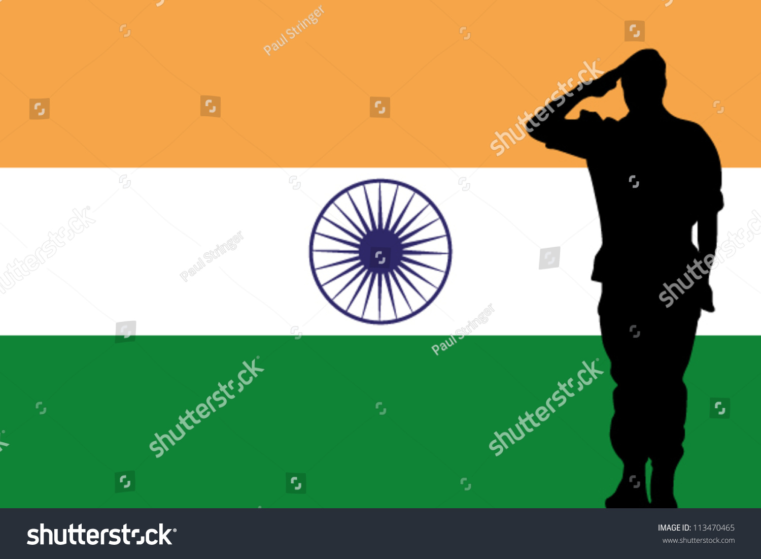 the india flag and the silhouette of a soldier saluting 113470465