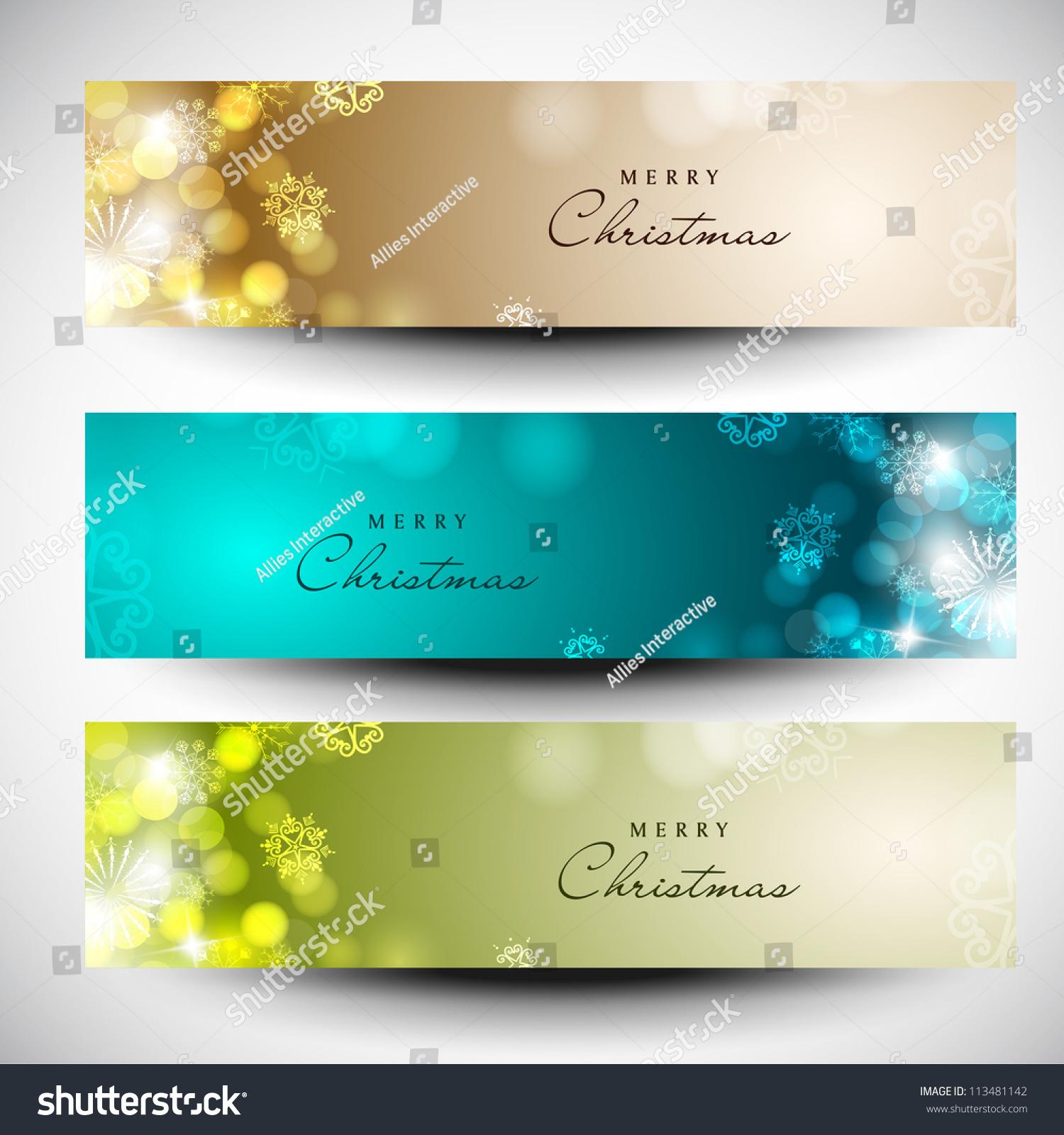 Merry Christmas Headings Stock Vector Merry Christmas Website Header And Banner