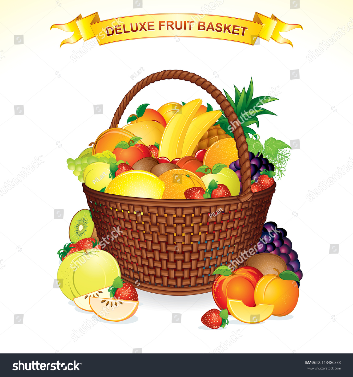 Fruit Basket Vector. A Woven Basket Filled With Ripe