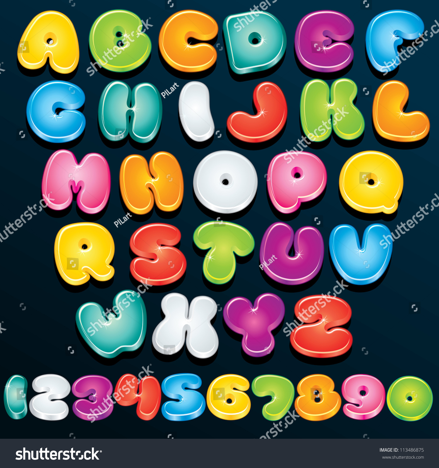 Portaoggetti Design Letters Numbers : Cartoon font multicolored vector letters numbers stock