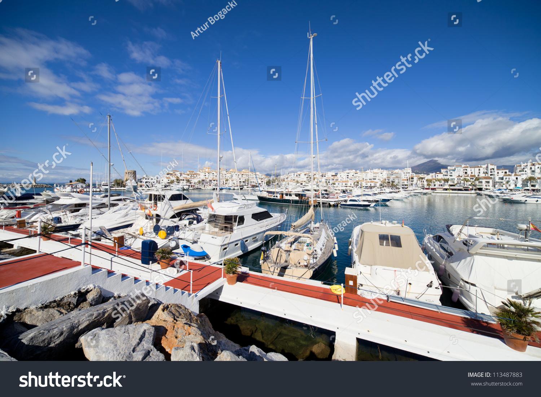 Port Puerto Banus On Costa Del Stock Photo 113487883