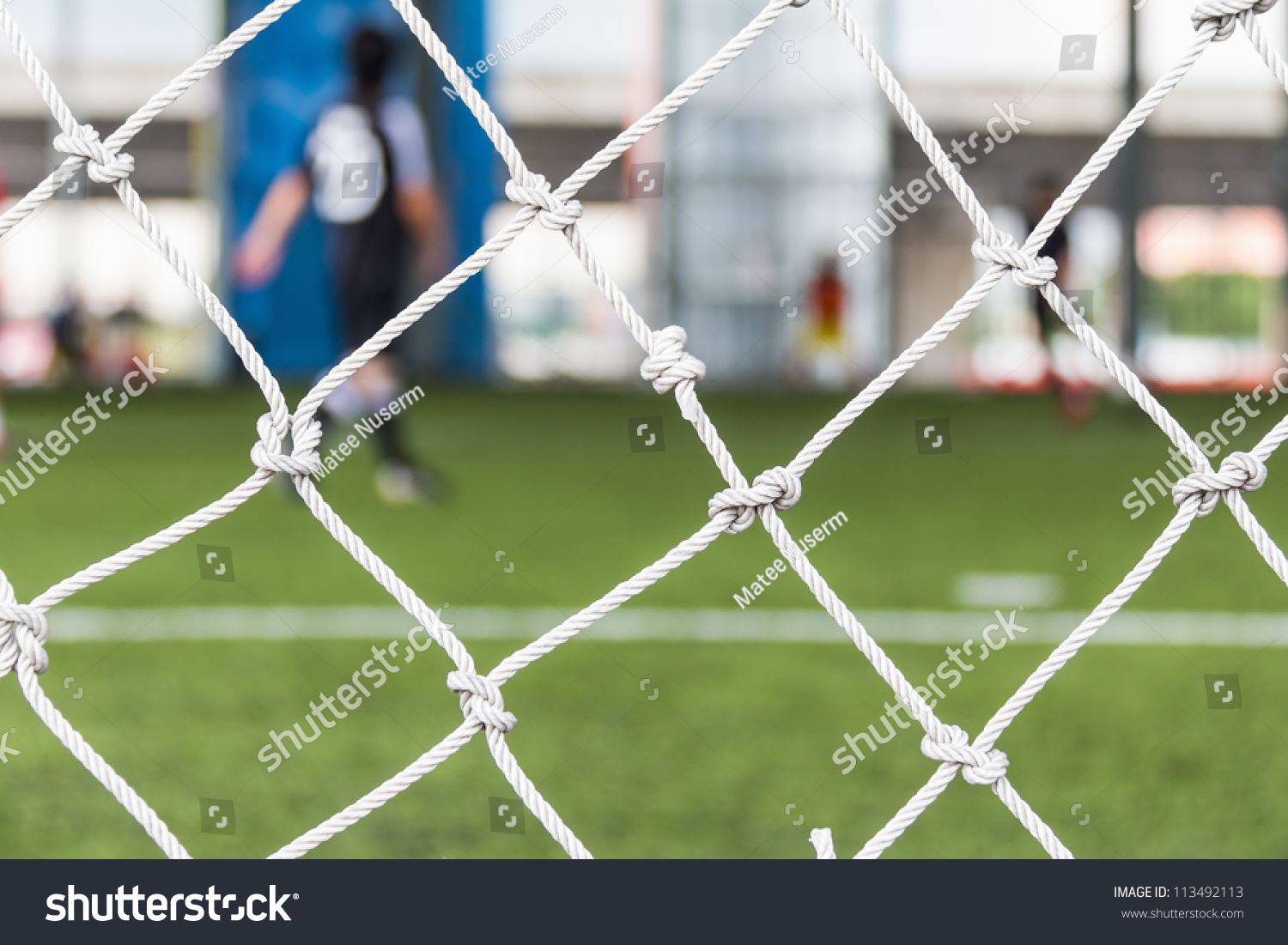 Close Up Of Football Or Soccer Goal Net In The Indoor Soccer Pitch