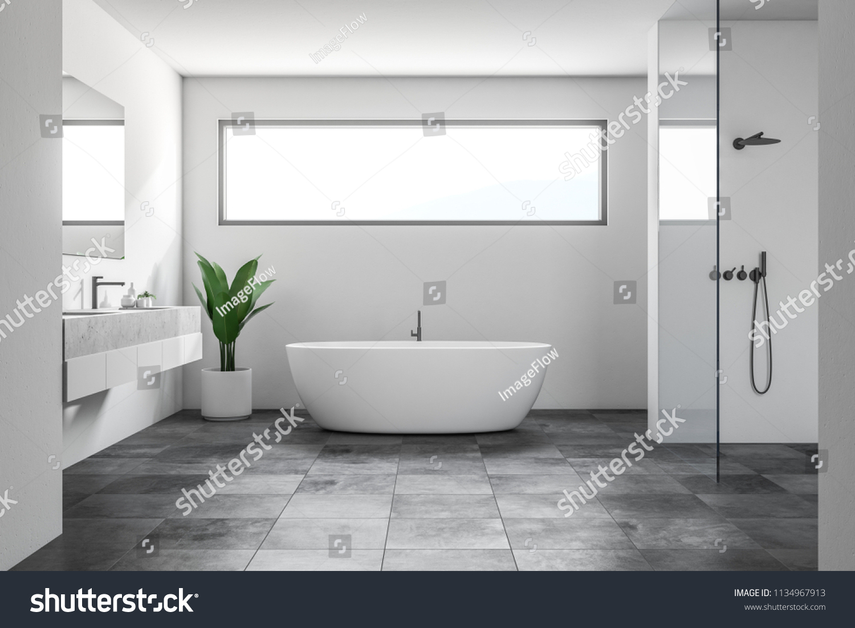 Picture of: Luksus Badevaerelse Interior Med Hvide Vaegge Lagerillustration 1134967913