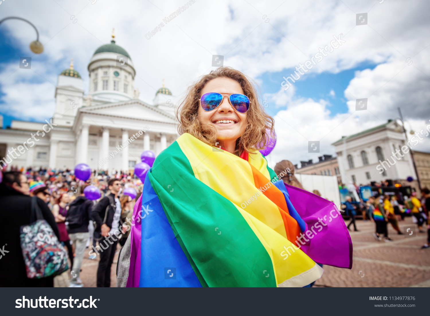 Beautiful Young Happy Woman Rainbow Flag Stock Photo Edit Now
