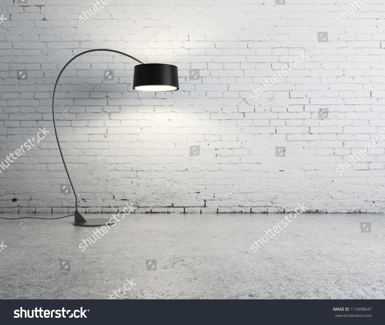 Floor Lamp In Brick Room Stock Photo 113498647 Shutterstock