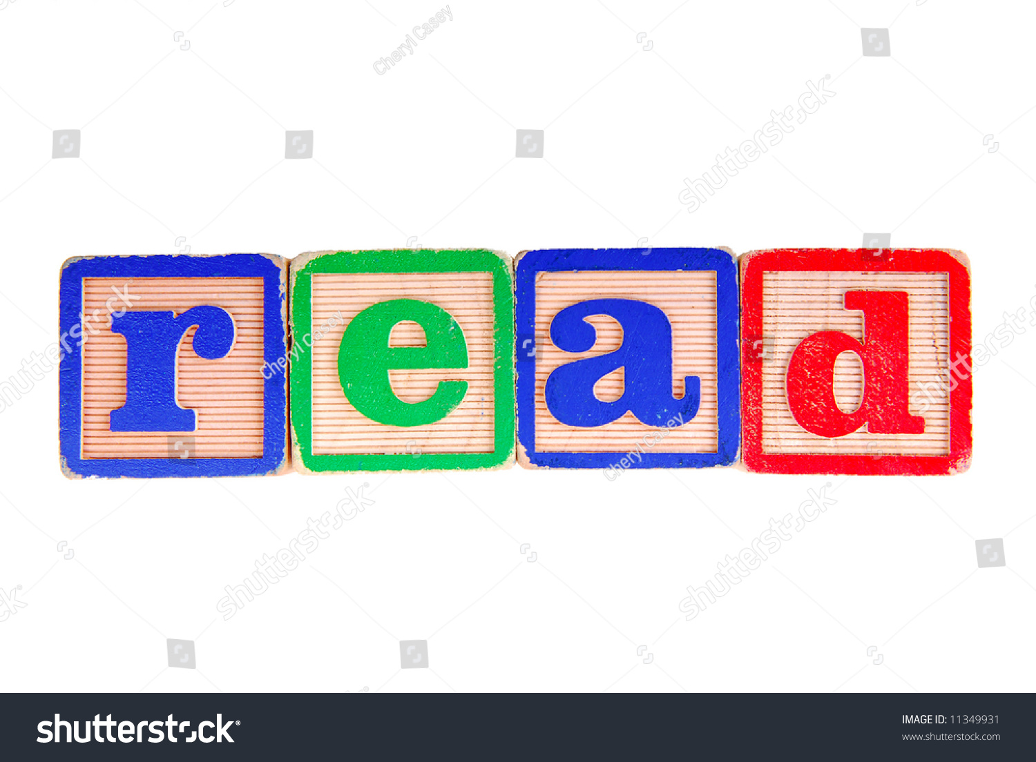 The word read spelled out in antique wooden blocks stock photo