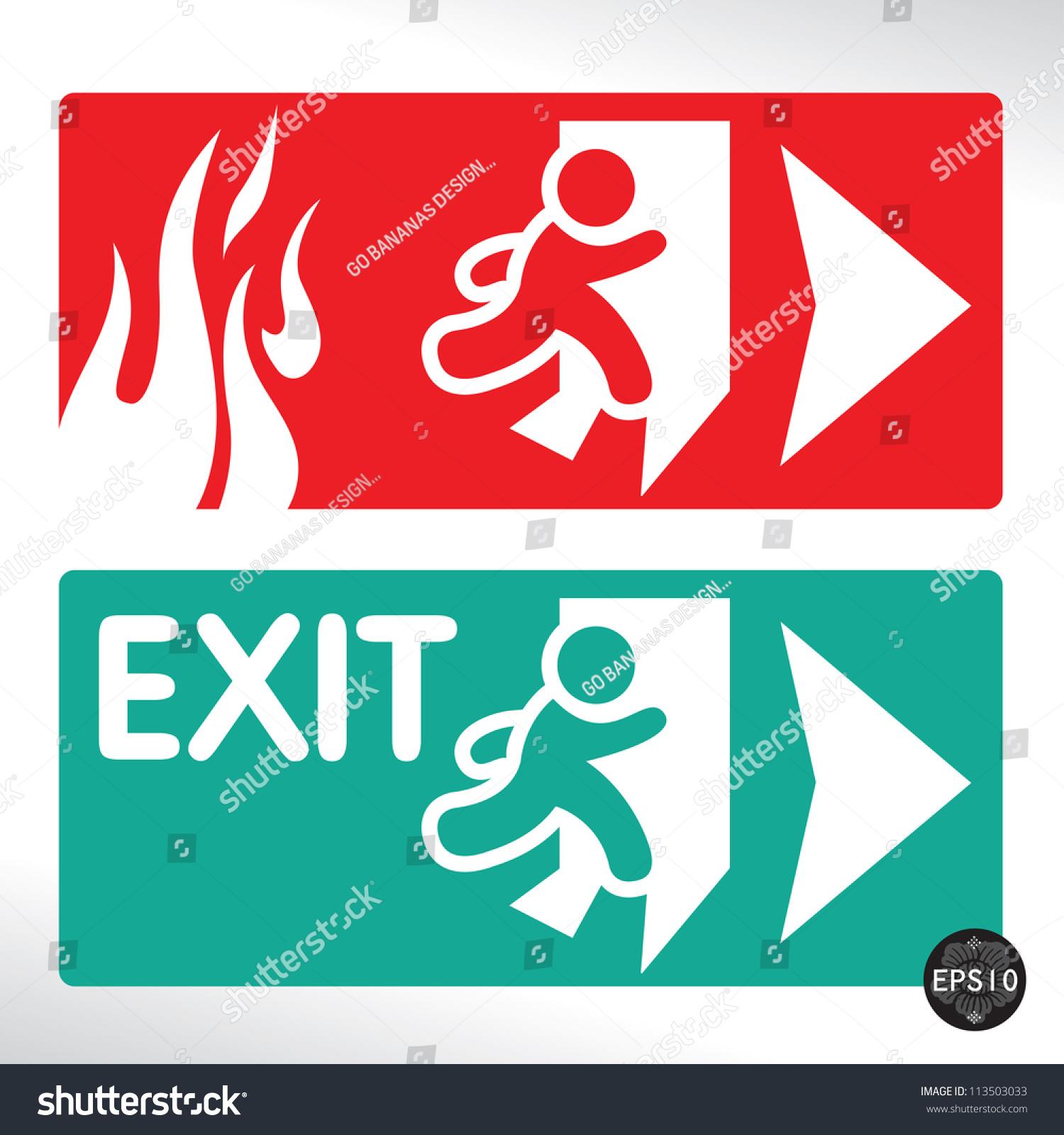 Emergency Fire Exit Door Exit Door Stock Vector 113503033 ...