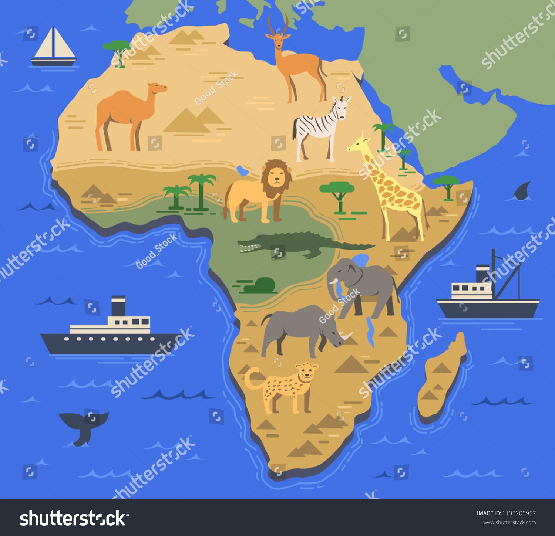 Image of: Vector De Stock Libre De Regalias Sobre Stylized Africa Map Indigenous Animals Nature1135205957