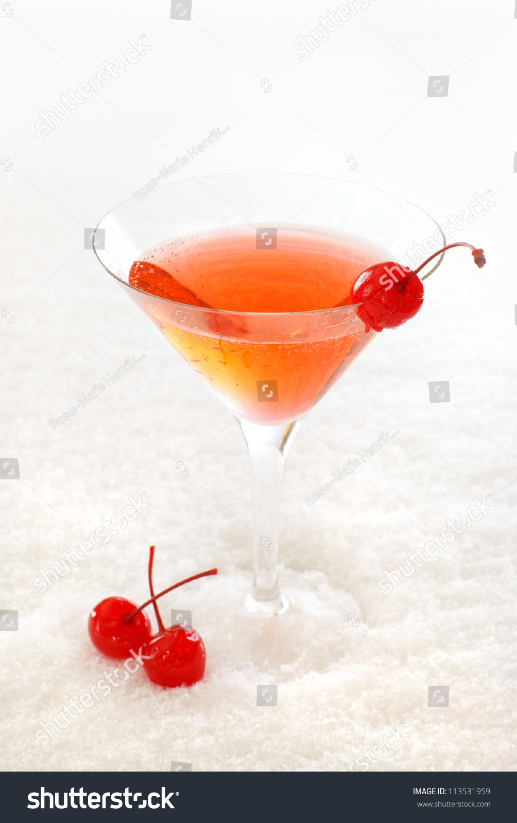 Cherry Cocktail In A Martini Glass Decorated With ...