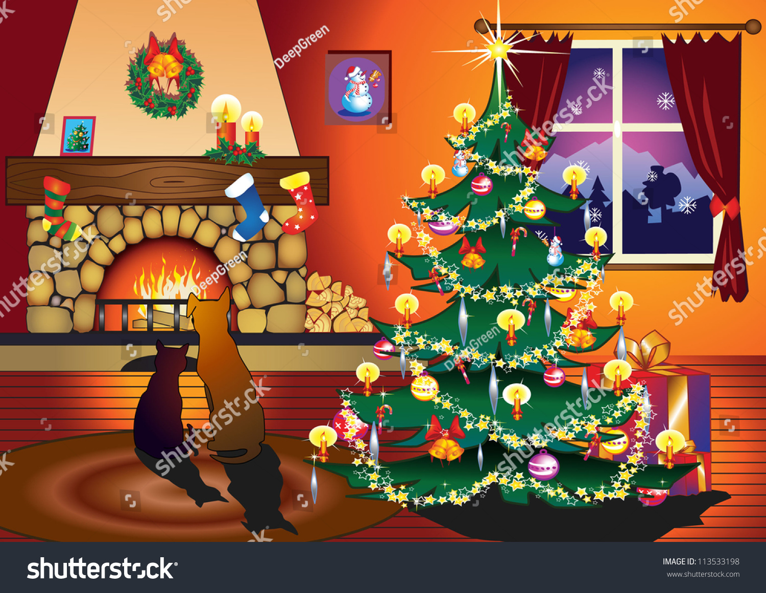 Xmas Living Room Cat Dog Sitting On Front Fireplace Stock Vector 113533198