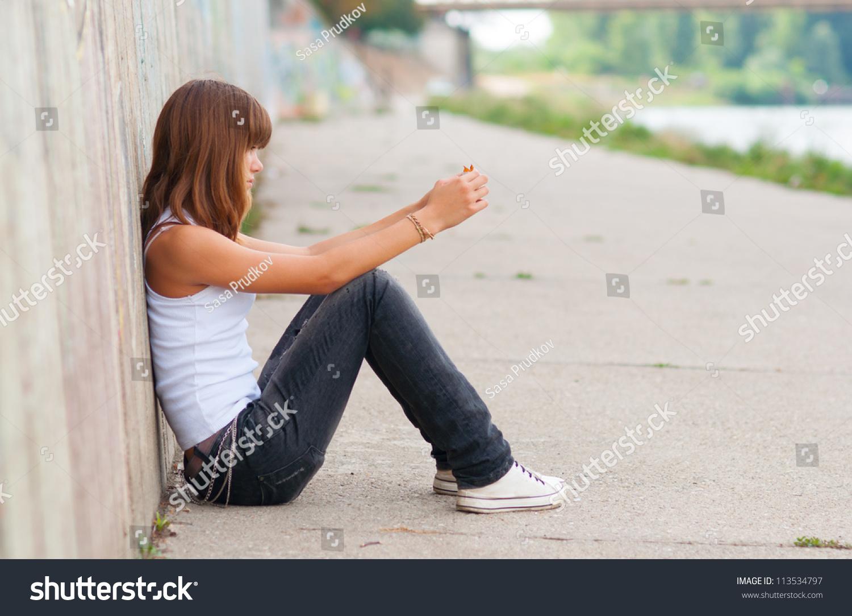 Cute Sad Teenage Girl Sitting Alone Stock Photo 113534797 ...