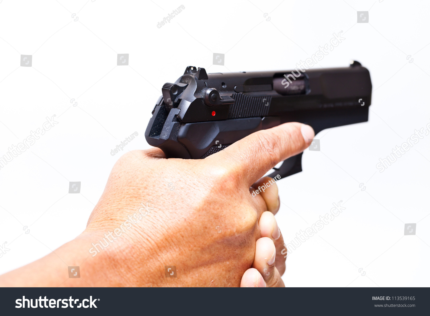 Two Hands Holding Gun Finger On Stock Photo 113539165 ...