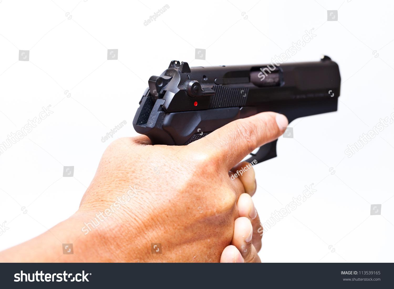 Two Hands Holding Gun Finger On Stock Photo 113539165 ...