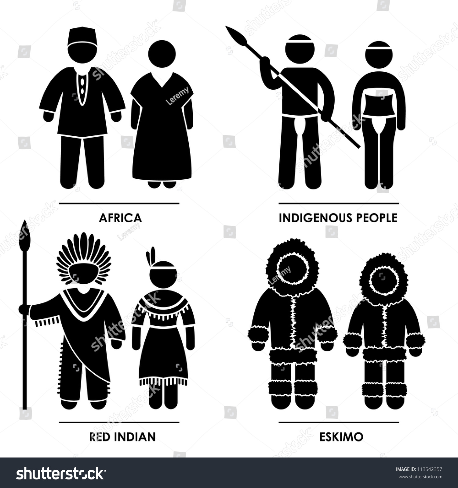 Africa indigenous people red indian eskimo stock vector 113542357 africa indigenous people red indian eskimo man woman people national traditional costume dress clothing icon symbol biocorpaavc