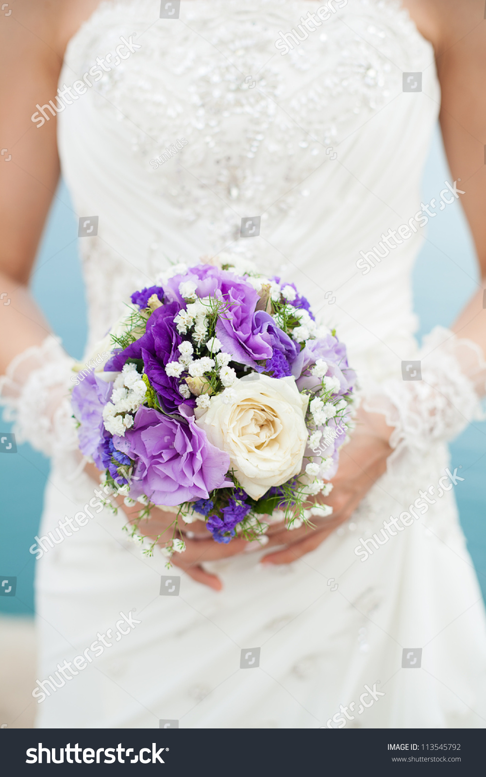 Bride Holding Beautiful Wedding Bouquet Purple Stock Photo Edit Now