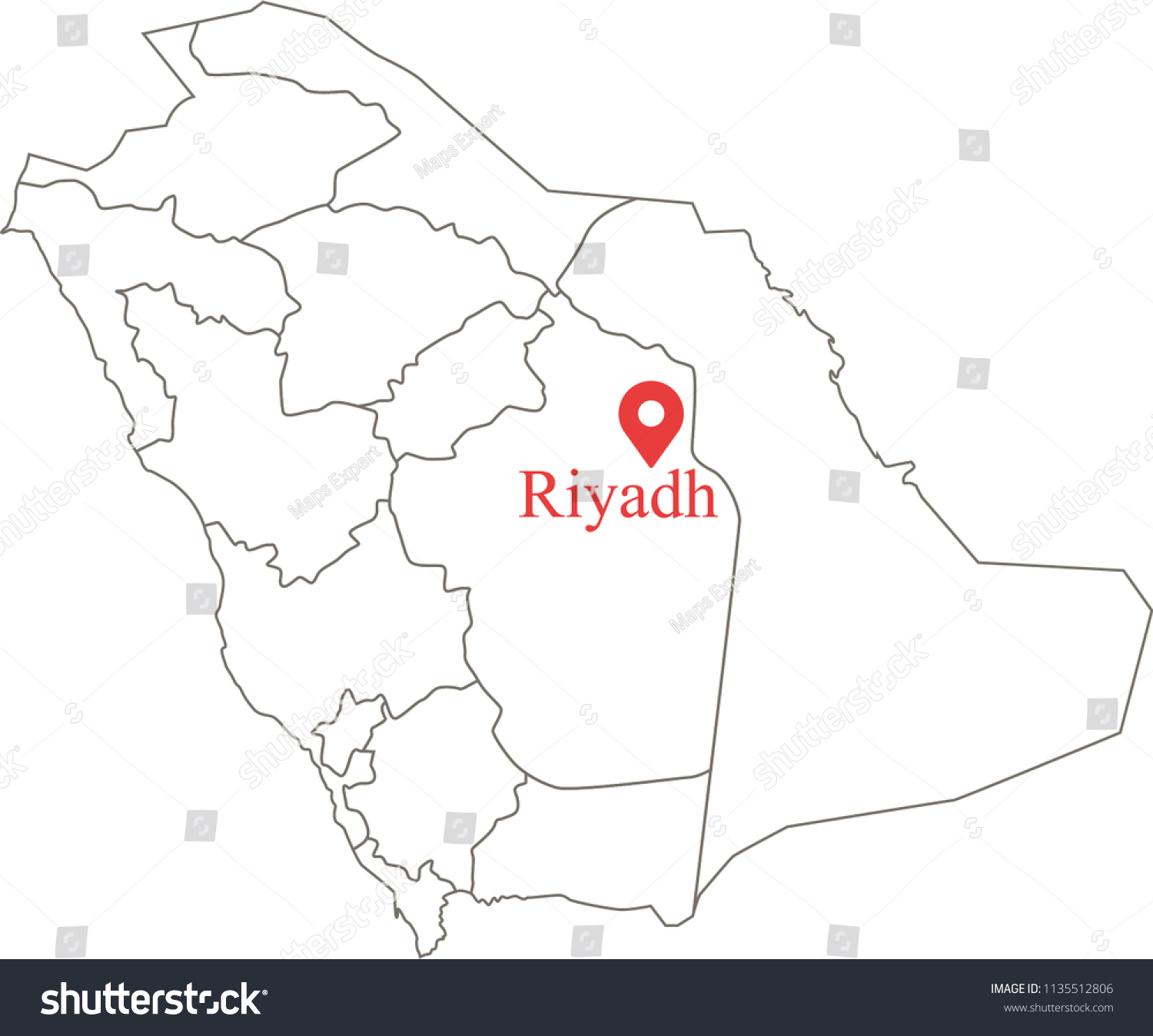 Blank Political Map Saudi Arabia Provinces Stock Vector (Royalty ...