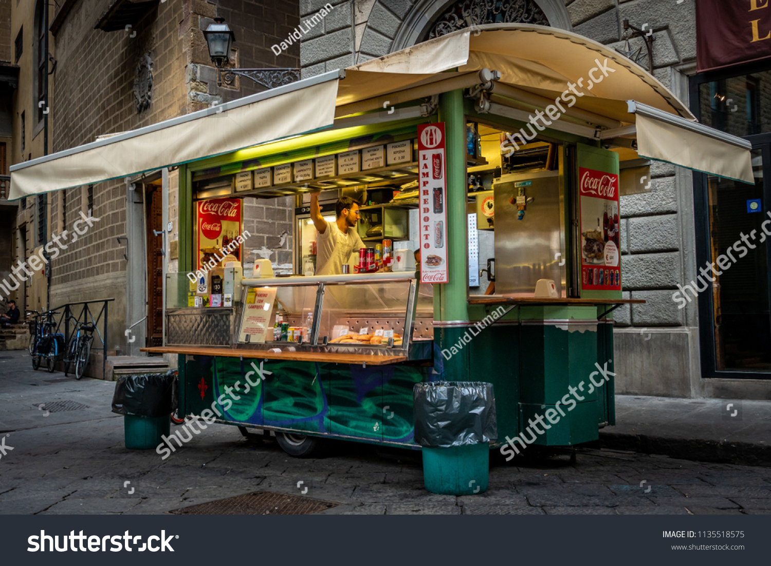Florence, Italy - June 8, 2018: A street food vendor cart truck that specializes in panino lampredotto, a sandwich with a type of  tripe made from the cows fourth stomach, a local favorite.
