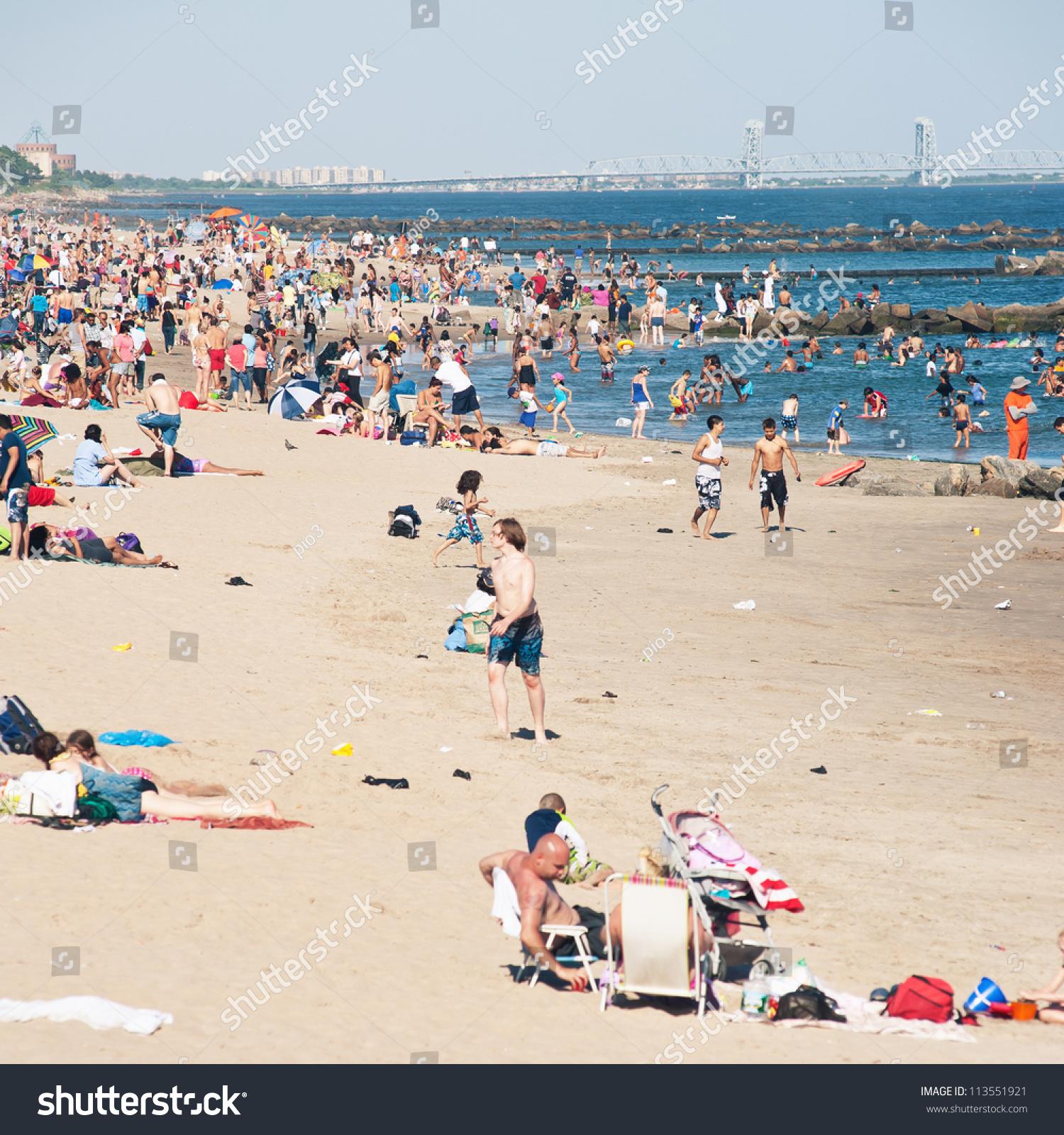Coney Island Beach: June 27: People On The Beach On June 27, 2012