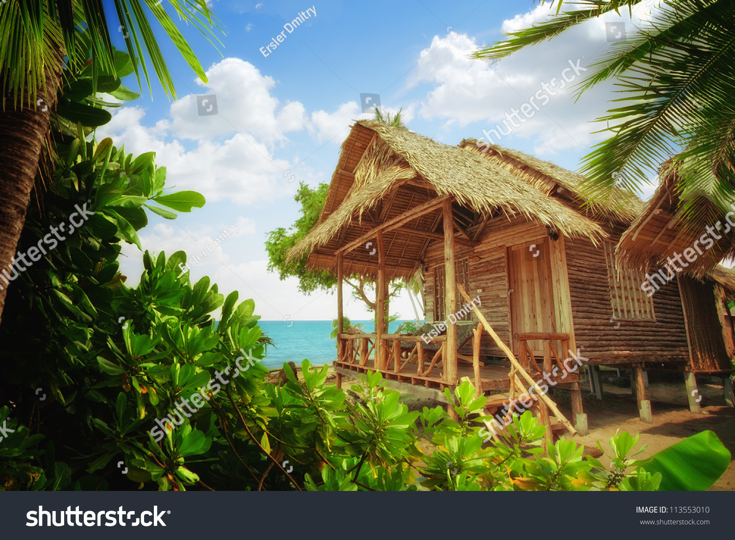 Tropical Beach Huts: View Of Nice Exotic Bamboo Hut On Tropical Beach Stock