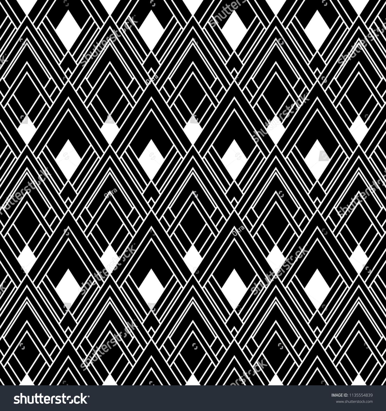 Seamless Art Deco Black White Wallpaper Stock Vektorgrafik