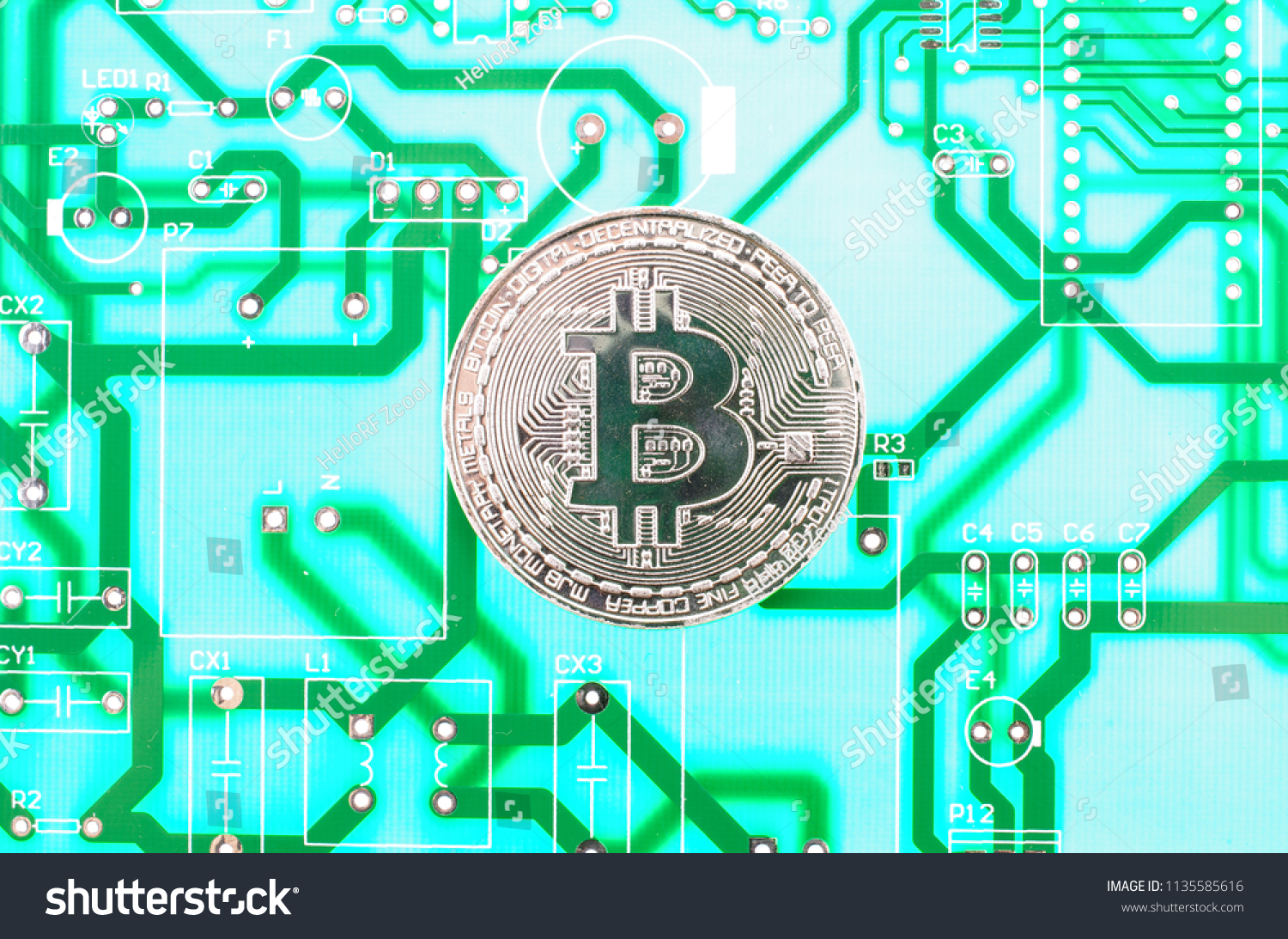 Single Silver Bitcoin Circuit Background Stock Photo Edit Now Circuitry Of An Electronic Calculator Royalty Free Photography In
