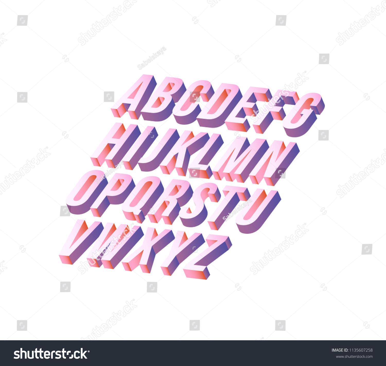 Alphabet Set Trendy Isometric Design Gradient Stock Vector (Royalty ...
