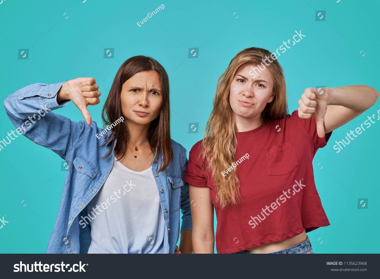 645992985 Portrait Two Young Woman Sisters Showing Stock Photo (Edit Now ...